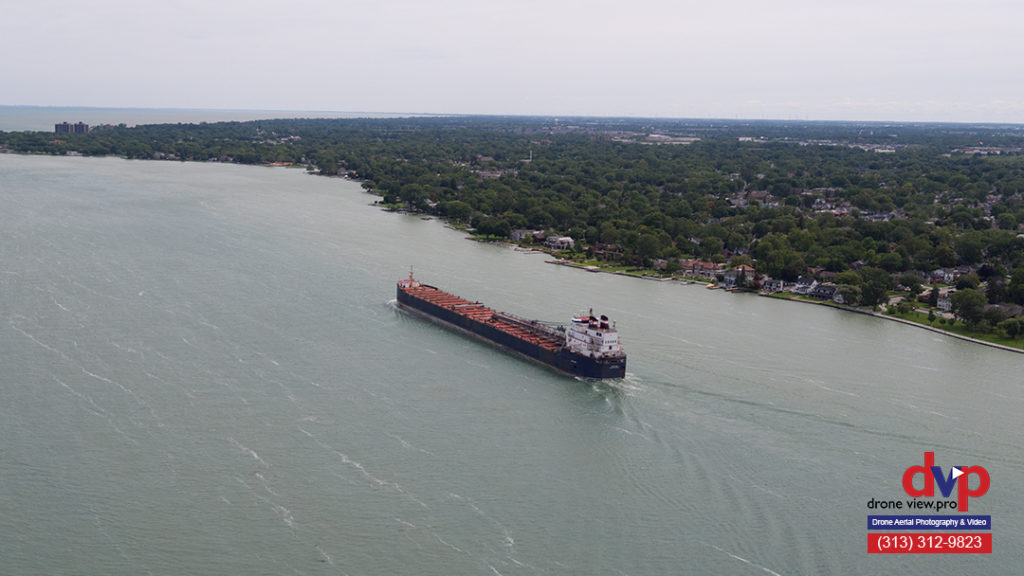Lake Freighter on Detroit River - Belle Isle View